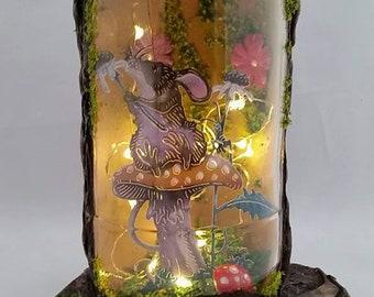 Mouse house, fairy jar, Led, fairy lights, lantern, fairy garden