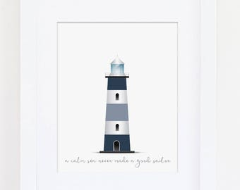 Nautical Nursery Decor, Boys Bedroom Decor, Nautical Bedroom Art Print, Lighthouse Art Print, Calm Sea Never Made a Good Sailor, Download