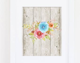 Floral Art Print, Girls Bedroom Decor, Floral Nursery Art Print, Rustic Home Art Wood Art Home Gallery, Rustic Nursery Art, Instant Download