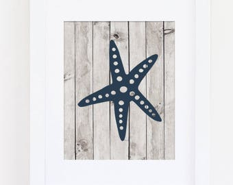Beach Home Decor, Navy Nursery Art Print, Nautical Nursery Wall Art, Starfish Art, Home Art Print, Boys Nursery Art, Instant Download