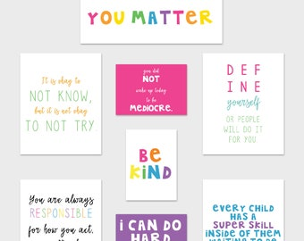 Teacher Classroom Art Prints, Growth Mindset Posters, Classroom Posters, Bright Classroom Decor, Rainbow Classroom Art, Inspirational Quotes