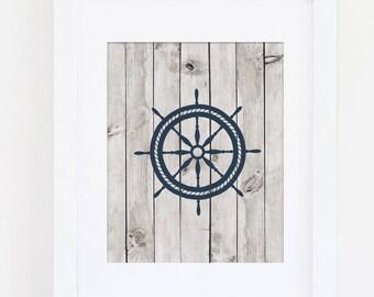 Navy Nautical Nursery, Home Art Nautical Wheel, Nautical Nursery Art Print, Navy Nursery, Ship's Wheel Art, Nautical Print Instant Download