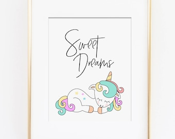 Unicorn Nursery Art, Pastel Nursery Art Print, Sweet Dreams Art Quote, Rainbow Nursery Theme, Sleeping Unicorn Art, Girls Bedroom Art Print