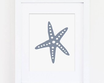 Boys Nautical Nursery Art Print, Blue Nursery Art, Nautical Wall Art, Boys Bedroom Art, Ocean Art, Starfish Art Print, Instant Download