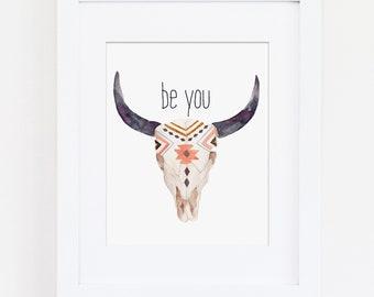 Tribal Nursery Art Print, Be You, Be Unique, Bull Head, Bull Skull, Tribal Decor, Tribal Bedroom Art Print, Download, Girls Room, Boys Room
