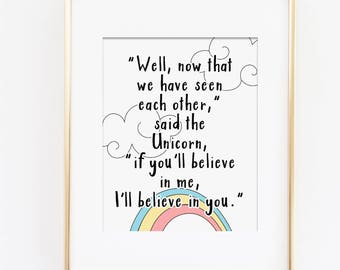 Pastel Nursery Art Print, Rainbow Wall Art, Believe In Yourself Inspirational Quote, Believe In Yourself Art Quote, Believe in Me, Download