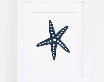 Navy Nautical Nursery, Blue Nautical Starfish, Nautical Nursery Art Print, Navy Nursery, Beach Wall Art, Nautical Print Instant Download