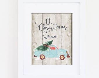 O Christmas Tree Art Print, Winter Wall Art, Christmas Tree Art, Christmas Decor, Holiday Decor, Printable Art, Instant Download