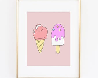 Ice Cream Art Print, Sweet Dreams Nursery Art, Pastel Nursery, Rainbow Nursery, Girls Bedroom Art, Playroom Art Print, Instant Download