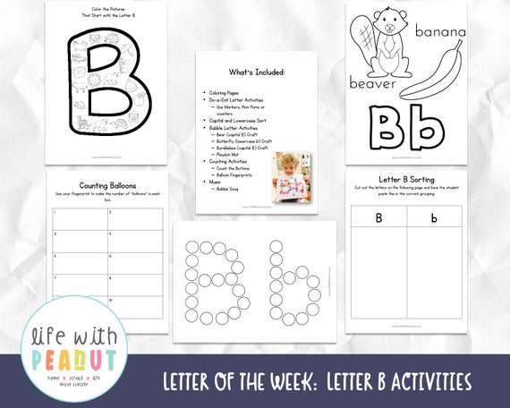 Letter B Activities Letter of the Week Recognition Alphabet