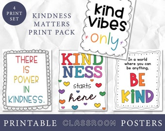 Kindness Matters Art Prints, Growth Mindset Classroom Decor, Astrobright Classroom, Classroom Wall Art, Teacher Art, Playroom Art Prints
