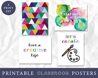 Let's Create Classroom Decor, Watercolor Classroom Decor Art Prints, Instant Download, Teacher Art, Craft Space Art, Creative Quotes