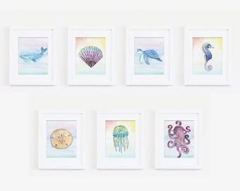 Ocean Life Art Prints, Watercolor Ocean Animals, Bathroom Art, Octopus Portrait, Jellyfish, Sea Shells, Instant Download, Sea Animal Posters