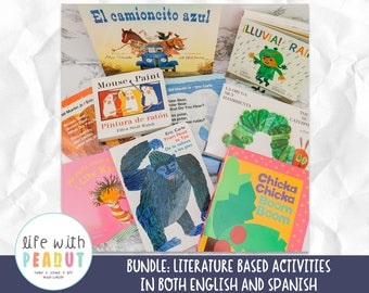 Literature Based Activities for English and Spanish, Spanish Preschool, Best Preschool Books, Math and Literacy Centers