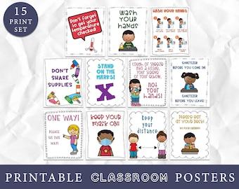Hygiene Classroom Posters, Coronavirus School Policy Posters, Keep Kids Safe, Bulletin Board Ideas, Wash Hands Class Art Prints, Printables