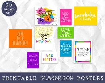 Set of 20 Inspirational Classroom Wall Art, Educational Quotes, Growth Mindset, Teacher Classroom Decor Set, Instant Download, Bright Class