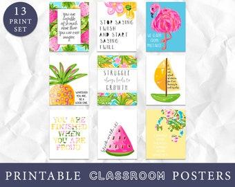 Growth Mindset Classroom Decor, Tropical Classroom Decor, Tropical Art Prints, Instant Download, Classroom Wall Art, Teacher Art, Education