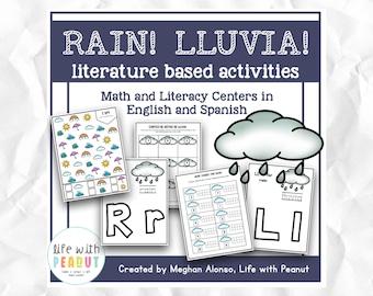 Rain // lluvia - Literature Based Activities for Preschool, Kindergarten, Homeschool, Math, Literacy Centers, Weather Activity