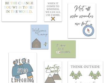 Camping Theme Classroom Decor, Camp Quotes, Camping Art Prints, Classroom Art Quotes, Camping Classroom, Teacher Prints, Instant Download