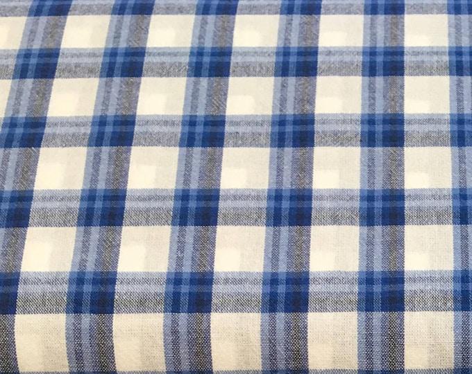 Ella Blue Fabrics - Gertrude Made Essentials -  Yarn Dyed Check Blue Cotton Woven Fabric