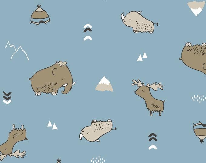 "Stof Fabrics - Avalana Knits - Prehistoric Animals on Blue 19-139  63"" wide Cotton/Spandex 4-way Knit"