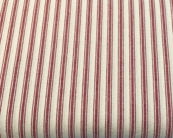 New Gertrude Made Essentials Red Ticking Stripe Cotton Woven Fabric by Ella Blue Fabrics