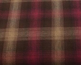 Ella Blue Fabrics - Gertrude Made Essentials -  Yarn Dyed Check Red (more like fuchsia) plaid Cotton Woven Fabric