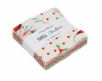 Moda Swell Christmas 42 piece Mini Charm Pack 2.5 inch Squares Cotton Woven Fabric