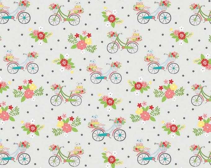 Vintage Adventure - Riley Blake -  - Bicycle Gray c7272 - Cotton Woven Fabric