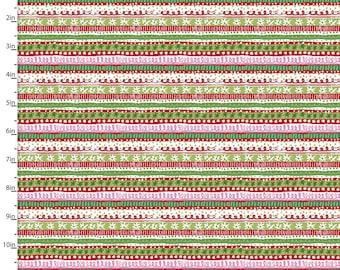 3 Wishes Fabric - Winter Woodland - Multi Woodland Stripe 15142-MULTI Cotton Woven Fabric