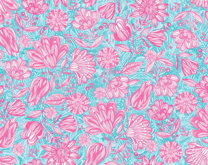 3 Wishes Fabrics - Magic Garden by Carr Pintos - Pink Garden Digitally Printed   #14649-TURQ Cotton Woven Fabric