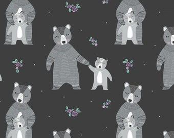 Camelot Fabrics - Bear Hug  - Carbon Mama & Baby Bear # 21181501-2 - Cotton Woven Fabric