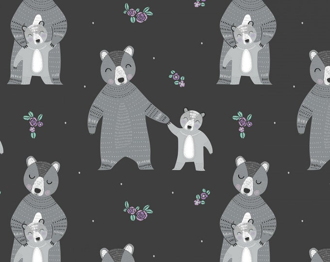 Camelot Fabrics - Bear Hug  - Carbon Mama & Baby Bear # 21181501-2 - Cotton Woven Fabric