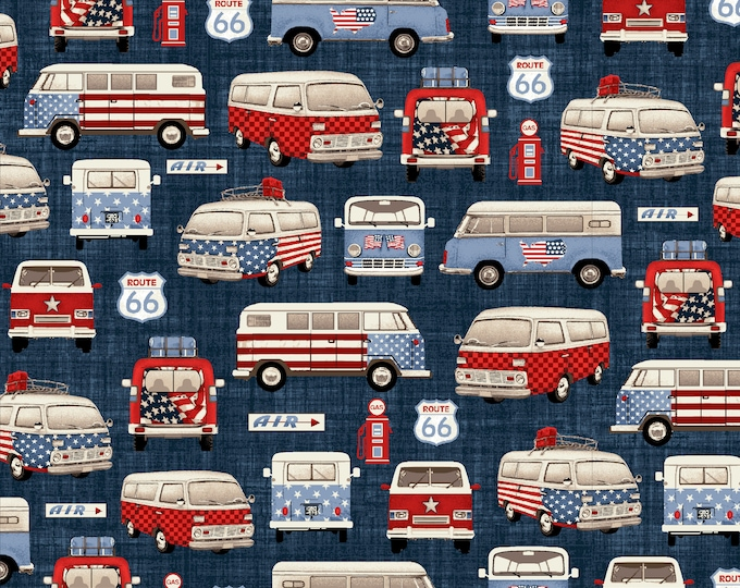 Road Trip by All American Road Trip - Vans- Navy - Cotton Woven Fabric - Studio E - 4316-77