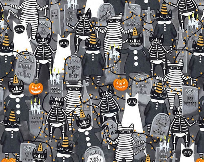 Blank Quilting - So Adora-Boo! - Gray Cemetery #9661G-95 Glow in the Dark Cotton Woven Fabric
