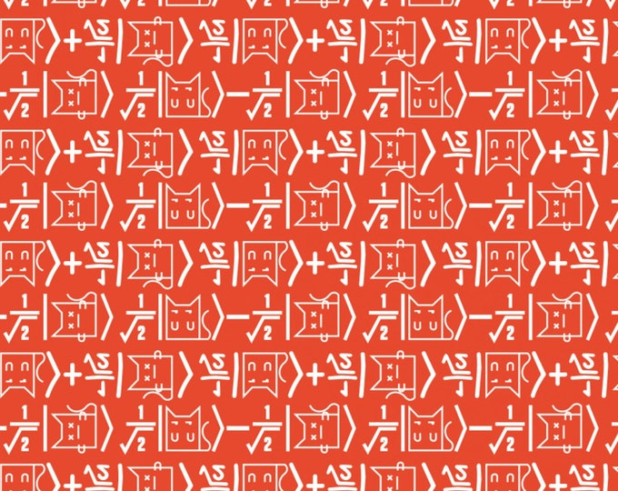 Big Bang Theory - Math Cat on Red - Cotton Woven Fabric - Camelot
