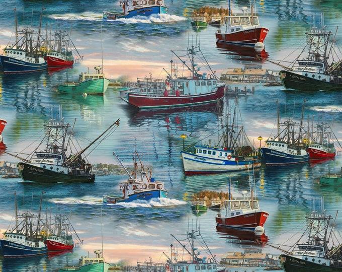 David Textiles - Scenic Ships - AL-3393 – At the Harbor Allover - Cotton Woven Fabric