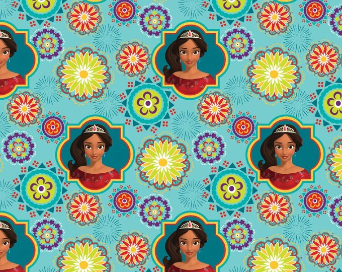 Springs Creative - Elena of Avalar on Teal Cotton Woven Fabric