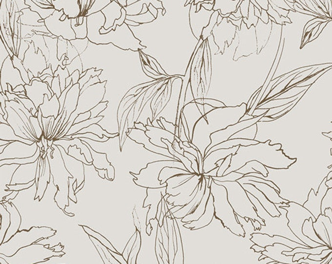 Art Gallery Fabric - Decadence - Traced Fair Peonies - Cotton Woven Fabric - Bari J