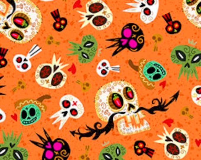 Quilting Treasures Fabric - Hot Tamale -  Tossed Skulls on Orange Cotton Woven Fabric