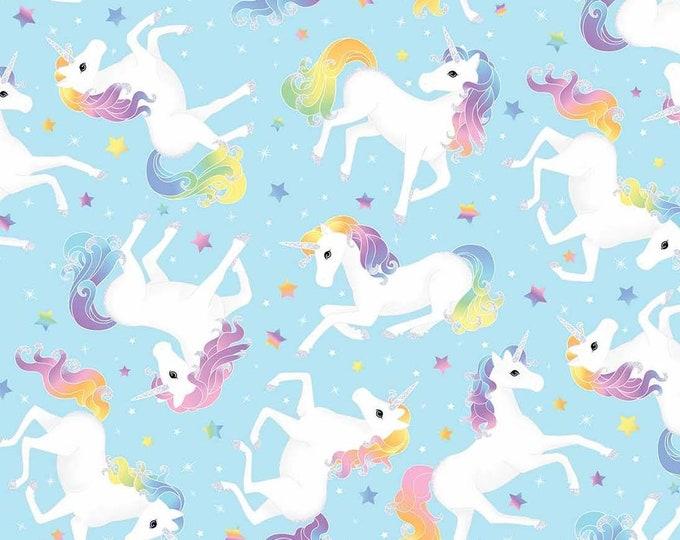 Unicorn Magic Blue Glitter Cotton Woven