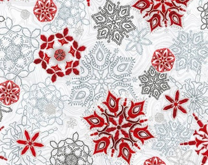 Silver Snowflake w/Metallic - APTM-17337-186 -Holiday Flourish by Robert Kaufman Metallic Cotton Woven Fabric
