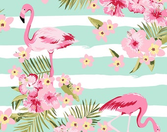 Stof Fabrics - Avalana Knits - Flamingos and Flowers on Striped Ground in White and Light Green - 19-662 - Cotton/Spandex Knit