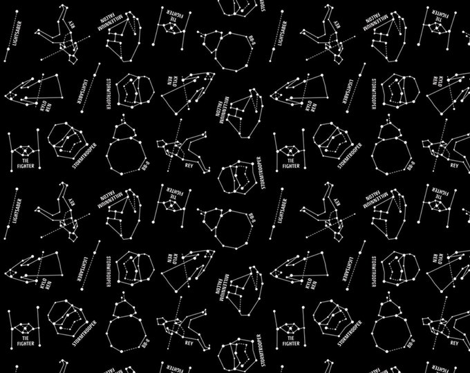 Camelot Fabric - Licensed Star Wars -  Constellations on Flannel Black # 73010322B-1 - 100% Cotton Flannel