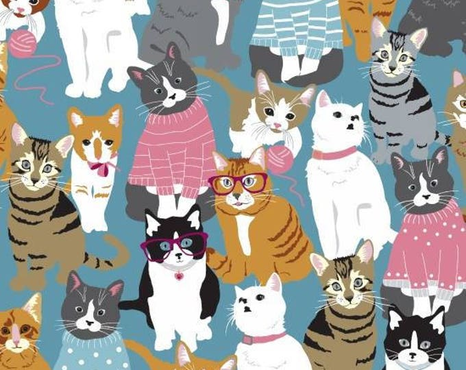 Cattitude designed by Ginger Oliphant Packed Cats cotton woven fabric