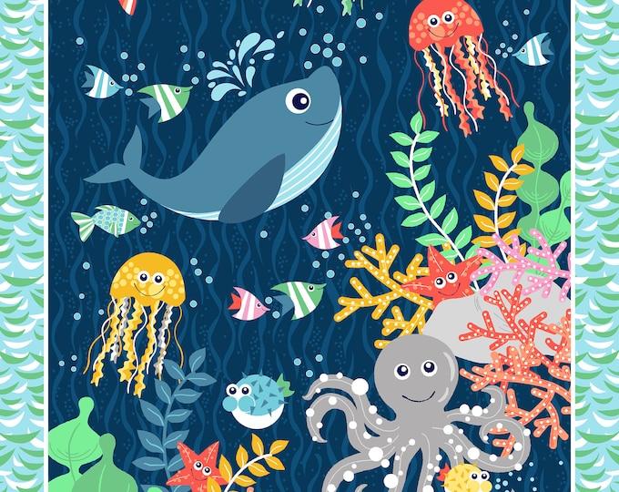 Sea Buddies - Scenic Sea - 24 Inch Cotton Woven Fabric Panel - Blank Quilting 9308P-7
