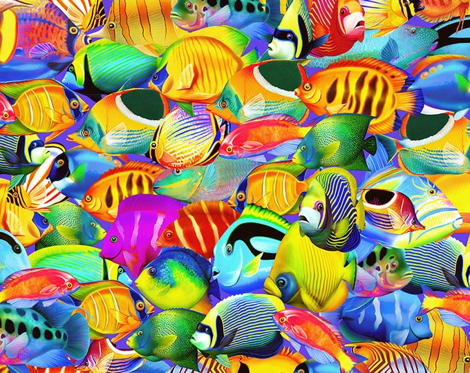 Timeless Treasures - Paradise Tropical Fish cotton woven fabric