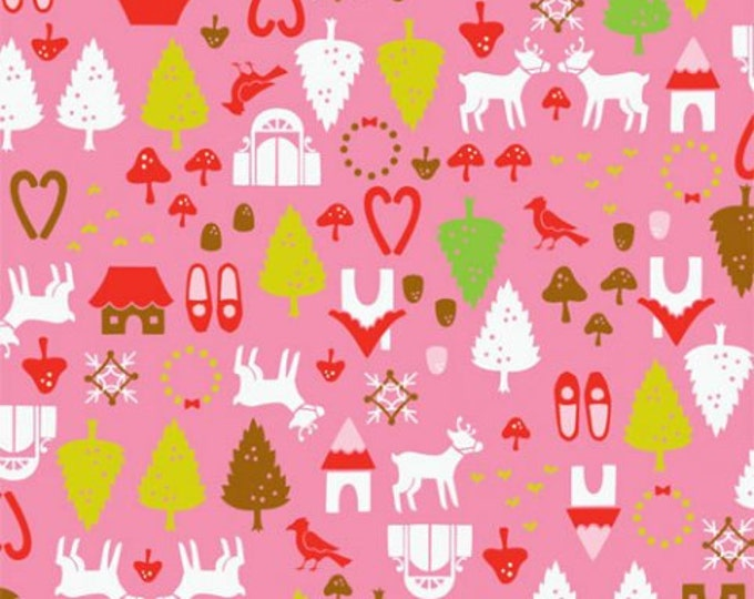 CLEARANCE -        Alexander Henry Fabric - North Pole Ditzy Pink Christmas Cotton Woven Fabric - SALE  !!!   - Priced per yard !
