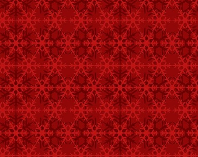 In The Beginning - Celestial Winter by Jason Yenter - Snowflakes Tonal - Red - Cotton Woven Fabric 8ACW-4  Cotton Woven Fabric