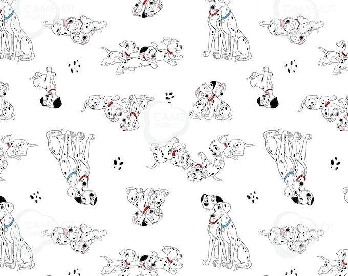 Camelot - Licensed 101 Dalmatians Family Portraits - Pongo, Perdy & Puppies in White #85010201-2 Cotton Woven Fabric